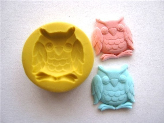 Kawaii Owl Flexible Mold/Mould (16mm) For Miniature Food, Sweet, Dessert, Craft, and Jewelery (Wax, Soap, Candy, Food, Ice, Resin, Paper, Scupley III, Fimo and Premo Clay)(M106)