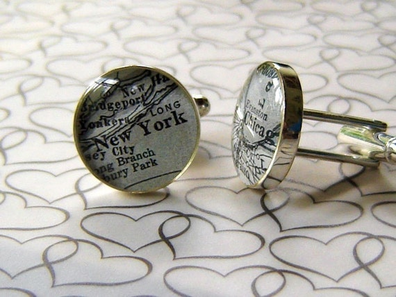 Black and White Custom Vintage Map Cuff Links