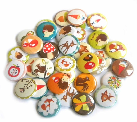 25 Woodland Themed Flat Back Buttons