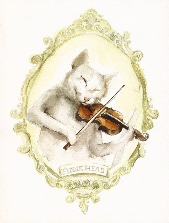 Fiddlehead - cat art, cat watercolor