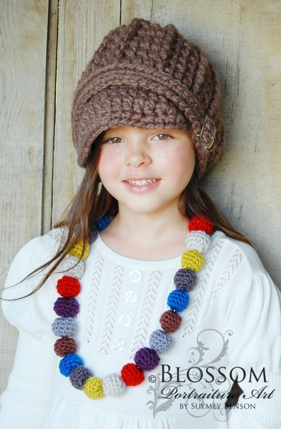 Crocheted Child's Beaded Necklace - Browns, Greys, Lemongrass, Pumpkin Spice, and Sapphire
