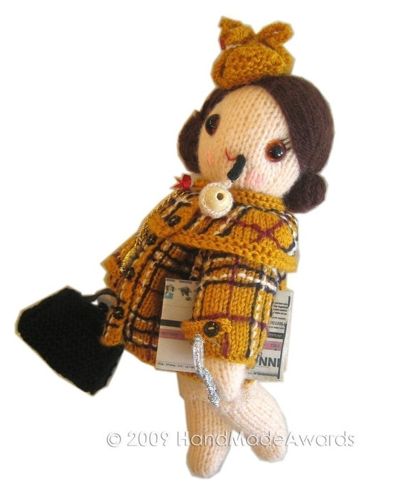 Adorable SHERLOCK HOLMES Girly Doll PDF EMAIL KNIT PATTERN