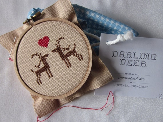 darling deer do-it-yourself-cross-stitch kit (materials and pattern)