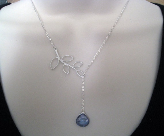 Bare Leaf  Lariat--mystic blue quartz in sterling silver chain