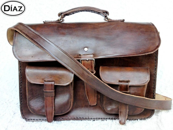Dark Brown Rawhide Leather Messenger Laptop Satchel Bag -Free Shipping- BBC2BC