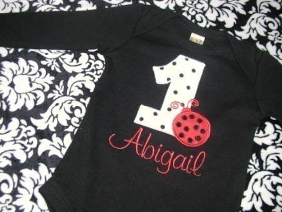 Personalized Ladybug Applique Birthday Number Shirt or Onesie by Brownies n Butterflies