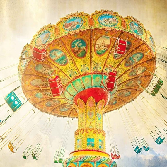 SALE - Fly High - Fine Art Carnival Photography Teal Sky Mustard Yellow Circus - Large 16x16