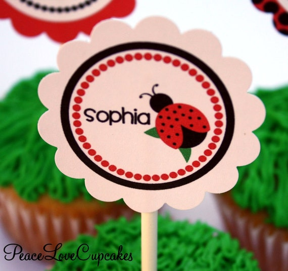 Black and Red Ladybug Printable DIY Cupcake Toppers, Personalized Party Circles, Favor Tags
