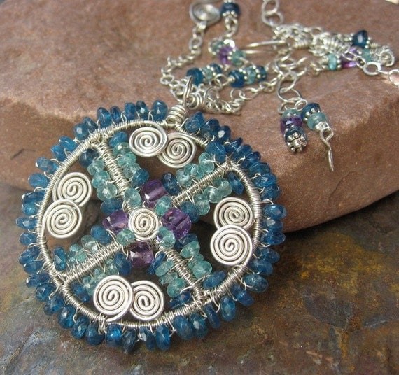 Apatite, Amethyst, and Sterling Silver Wire Wrapped Pendant ... MANDALA DREAMS