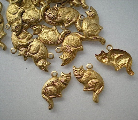 24 brass cat charms