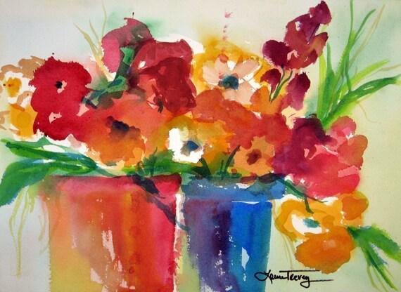 Container Garden, Watercolor Print
