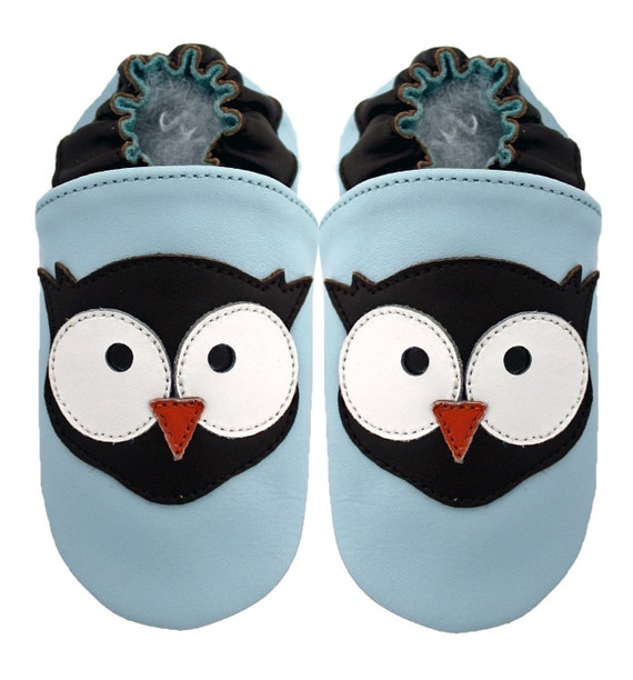 soft sole baby leather crib shoes - wildcubs Owl blue