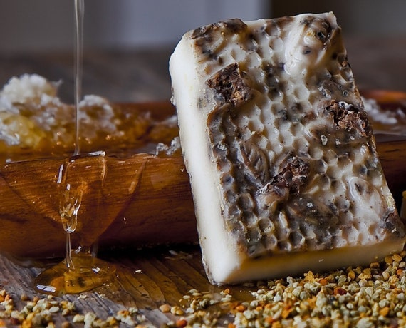 Honey Bee Pollen, Hand-Crafted Soap Hive Almond Yellow White Brown Unisex Spring Summer Organic