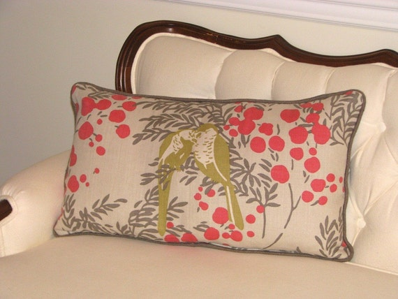 Lumbar Pillow With Designer Romo Fabric Coral, Gray and Green