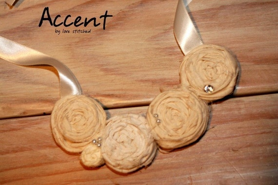 On SALE now - ELISE -  creamy soft romantic Rosette necklace - perfect for your wedding or a pair of jeans
