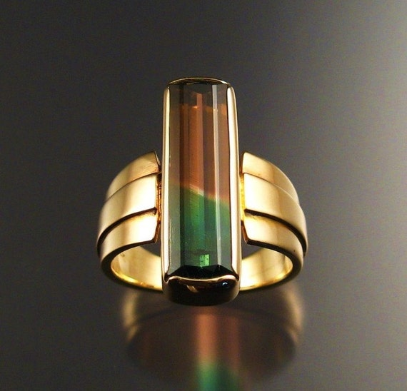 Watermelon Tourmaline Ring, 14k Gold