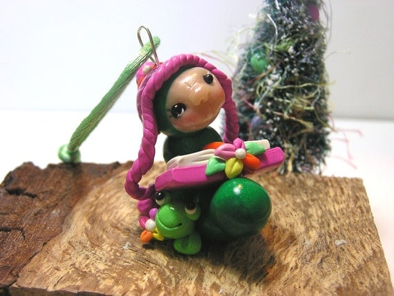 Bookworm and the Frog Polymer Clay Christmas Ornament by nanjodogz