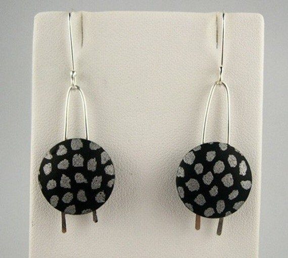 Polymer Clay Earrings, Black, Silver - BAO Item of the Week
