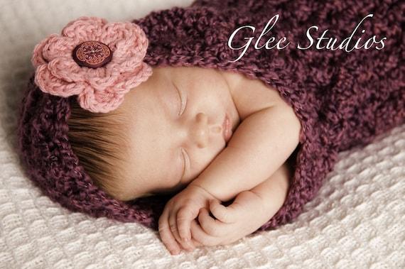 Малина вязания крючком с капюшоном Cocoon Детские со съемной Розовый Prop Фотография Цветок
