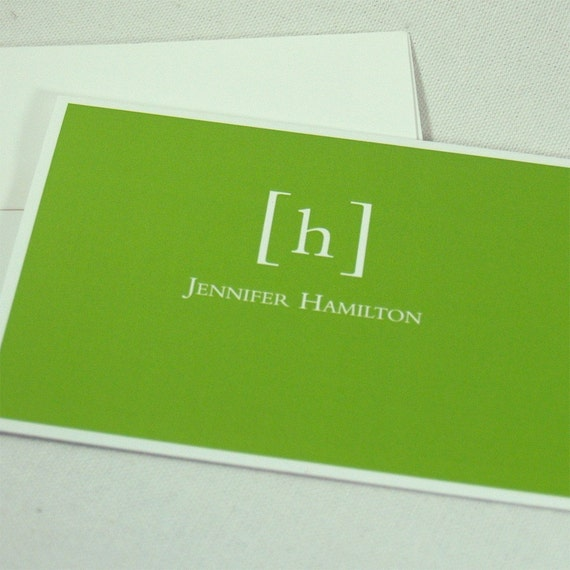 personalized note cards stationery set -simply classic (8) CHOOSE color