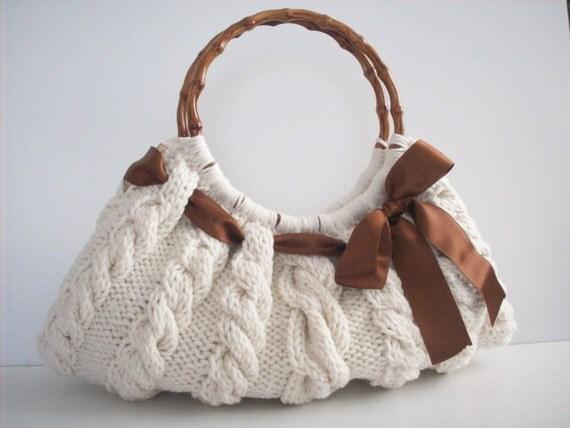 کیف شانه ، کیف دستی کیف روزمره کرم Knitted Nr.050