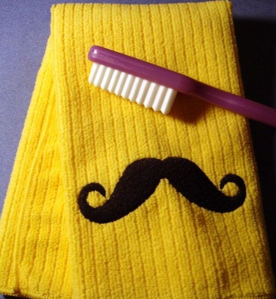 Mustache Hand Towel - Embroidered - YELLOW - MOVEMBER SALE