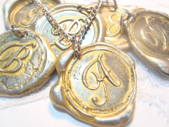 Ritzy Misfit Wax Seal Pendant GOLD colored letter of your choice monogrammed initial WITH chain a b c d e f g h i j k l m n o p q r s t u v w x y z
