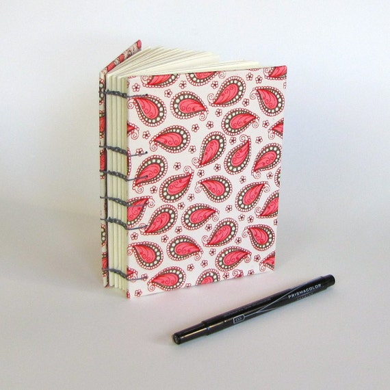 Pink Paisley on Ivory with Charcoal Binding Small Journal- Ready to Ship