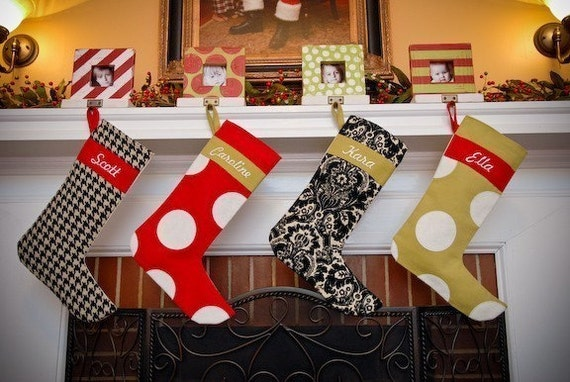 Red with White Polka Dot Applique Monogrammed Christmas Stocking