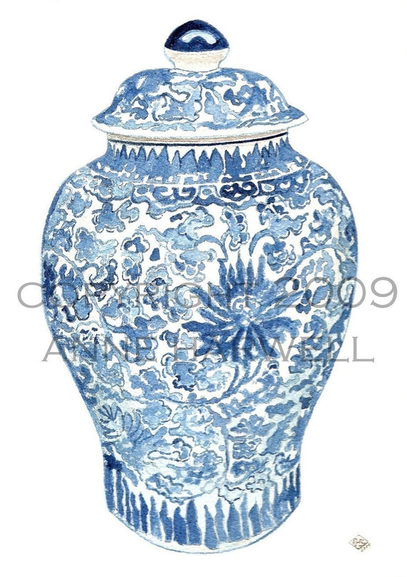 BLUE  and WHITE GINGER JAR PRINT 11x14