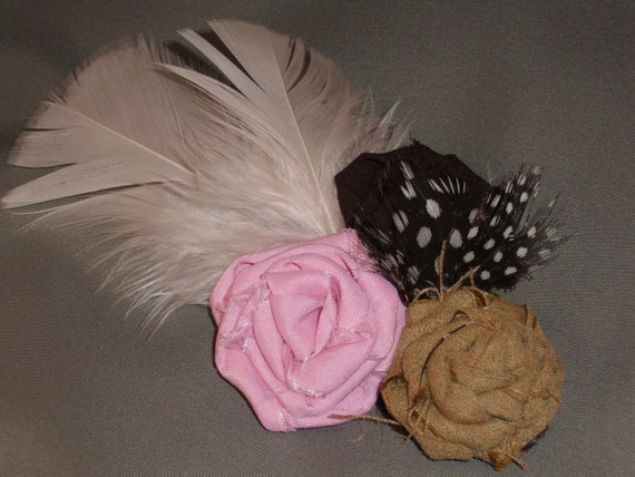 Vintage Flapper Hair Clip Headband with 3 Rolled Rose Flowers in Pink, Brown and Tan =accented with Feathers-photo prop, newborn, blessing, wedding, photography
