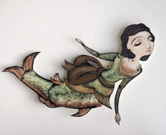 Paper Puppet Doll Mermaid Fish Lady