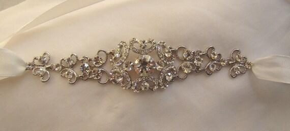 SALE -- Bridal Headband Rhinestone Crystal --Long Version -- Free Crystal Earrings   (HB01)