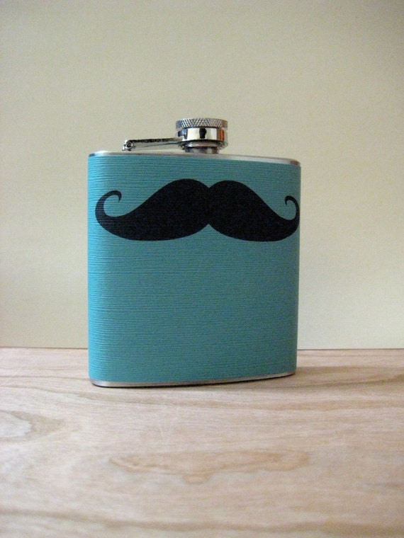 6 oz Stainless Steel Flask - The Original Mustache Love-on Light Cerulean- Perfect for your dad, brother, boyfriend, or husband