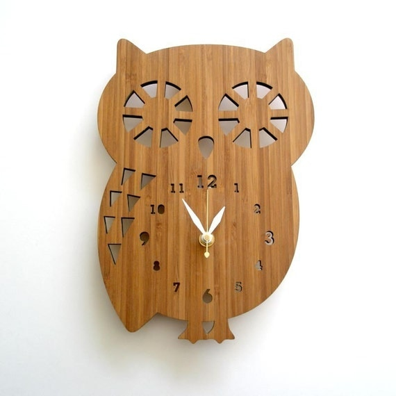Buddy Owl Bamboo Wall Clock