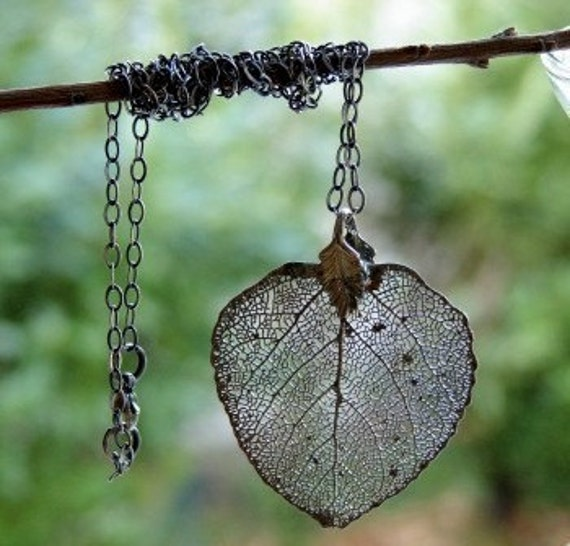 Nature Lover Necklace Real Aspen Leaf Organic Silver Free Shipping