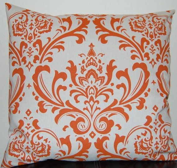 Orange Damask Decorative Pillow Covers 20 x 20 Inches Sweet Potato Orange on Natural