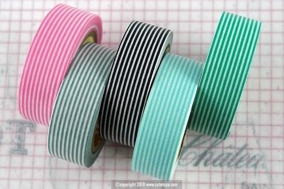 Japanese Washi Tape - All Stripes Horizontal Lines (set of 5 cuties)