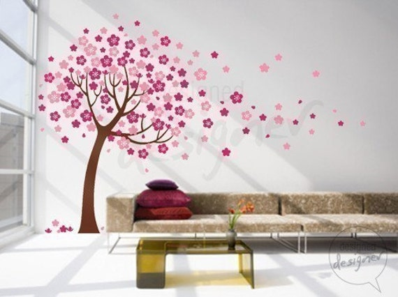 Removable Vinyl wall sticker decal Art - Trailing Cherry Blossom Tree - dd1012