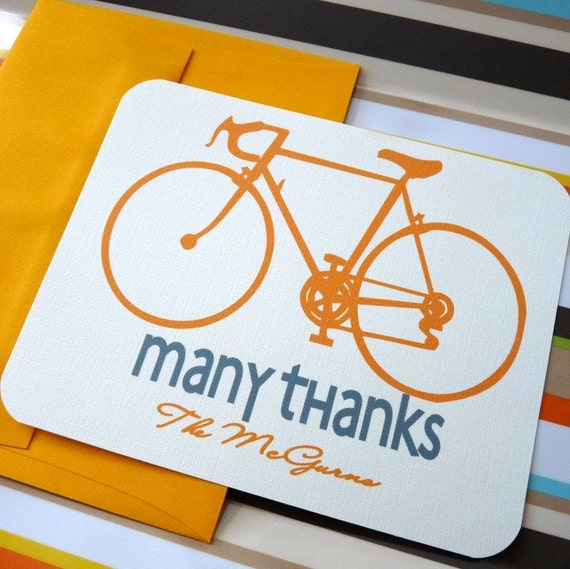 personalized stationery- custom bicycle thank you notes