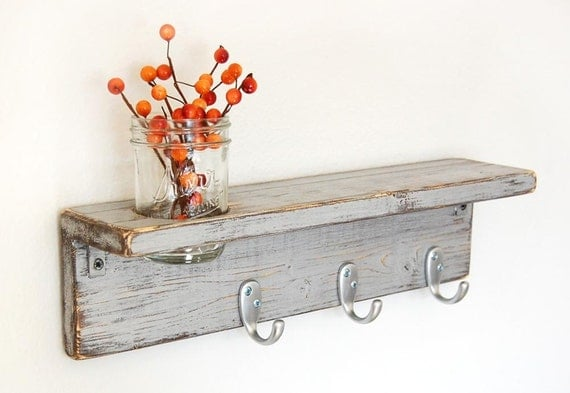 cottage shelf wood shabby chic vase hooks industrial Metallic Silver - Silver Hks