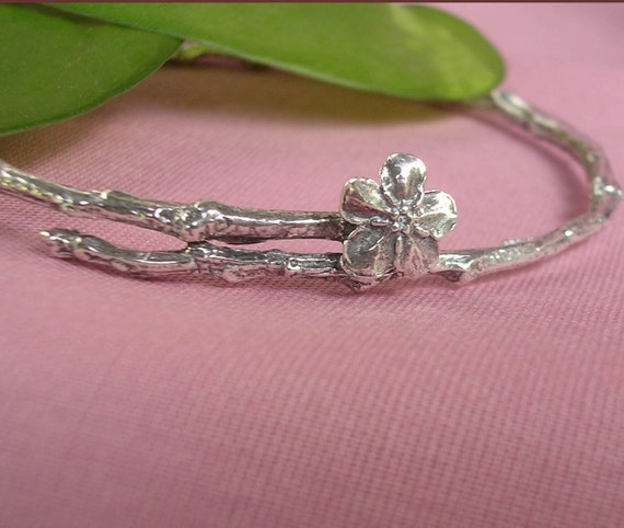 Bangle Bracelet, sterling silver, nature jewelry, wildflower, twig, Forget Me Not standard size