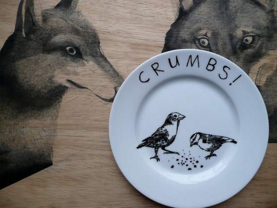 Birds and Crumbs - Hand Painted Porcelain Side Plate