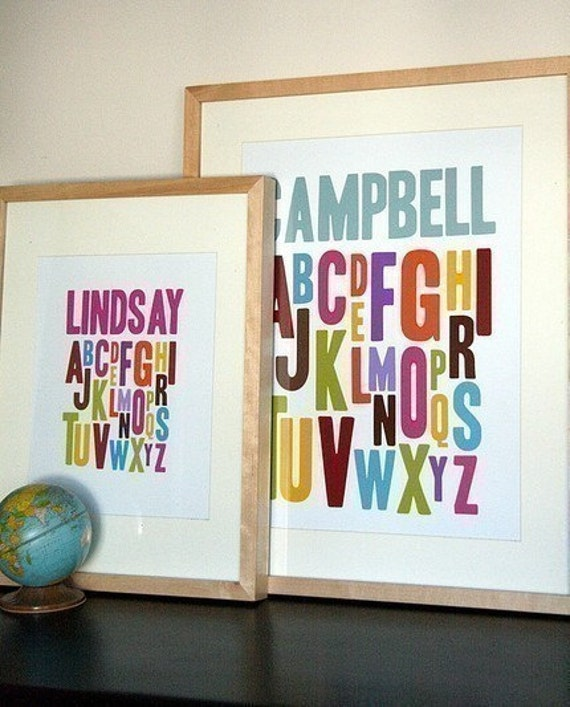 8x10 Alphabet Print, 7 colour choices