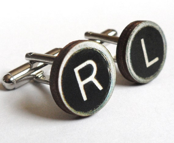 Custom Wooden Typewriter Key Cufflinks