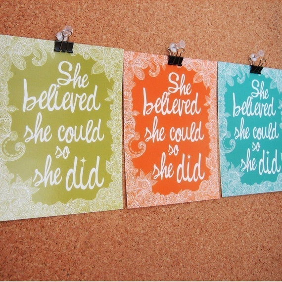 Set of 6 She Believed flat cards
