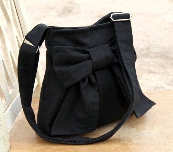 Black Mini Bag w/ Exterior Pocket and Adjustable Strap
