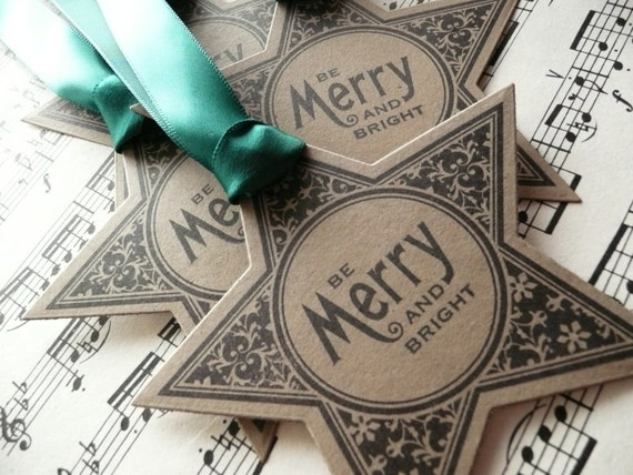 Be Merry and Bright - Christmas Gift Tags - A Set of 4