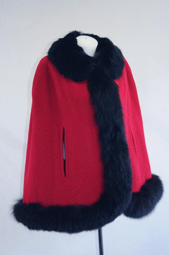 Vintage 50's 60's Cape Fox Fur RED Wool Wide Flared Silhouette Heavy Coat Wrap Red Satin Lined Wili Designer Rare Cute Cape
