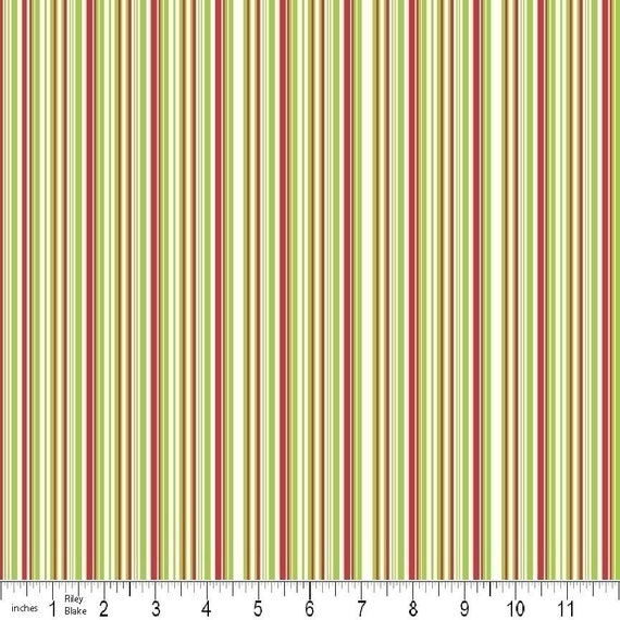 Colorful Christmas Fabric by Mind's Eye for Riley Blake, Christmas Stripe in Green- Fat Quarter